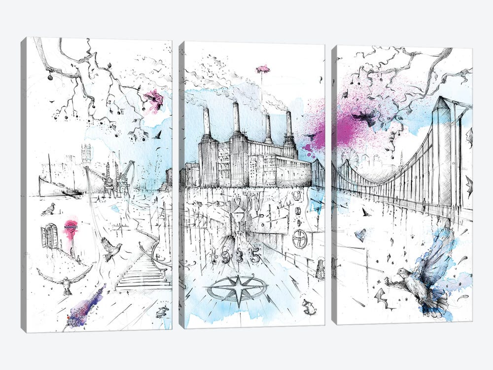 Battersea Power Station by Lewis Campbell 3-piece Canvas Artwork