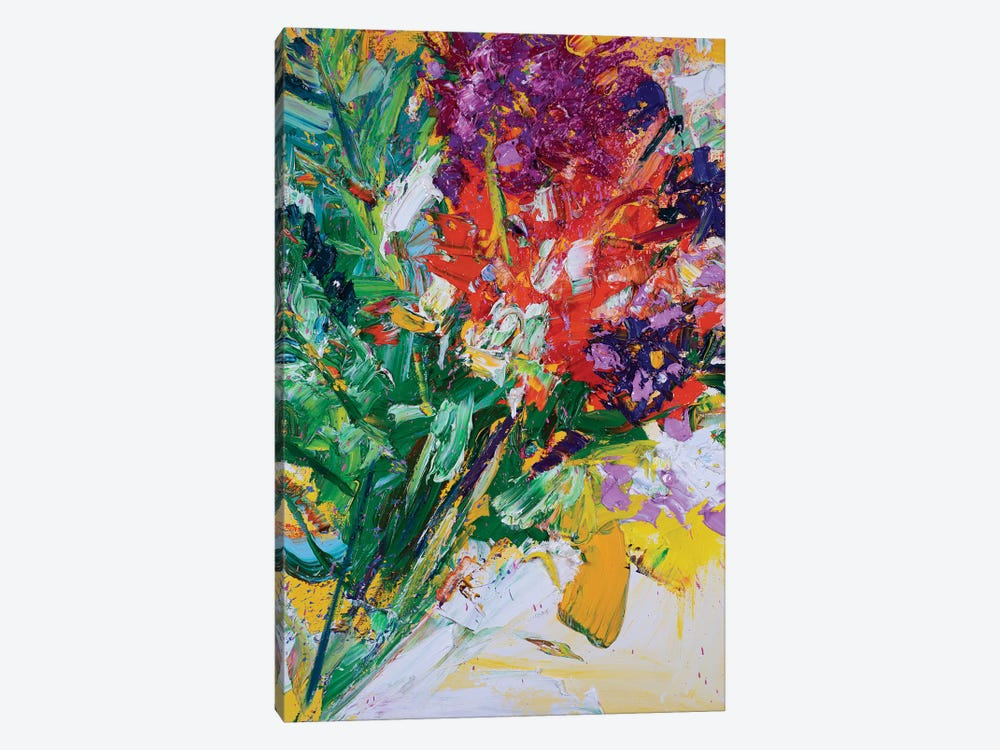 Fresh Flowers and White Laced Ribbons by Shalimar Legaspi 1-piece Canvas Art Print