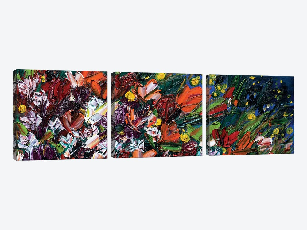 On The Road Again Wildflowers by Shalimar Legaspi 3-piece Canvas Print