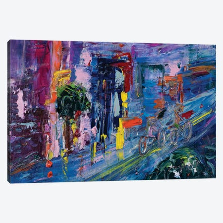 Rainy Commute By Bicycle 3-Piece Canvas #LEG38} by Shalimar Legaspi Canvas Art