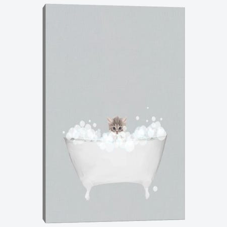 Kitten Blue Bath Canvas Print #LEH102} by Leah Straatsma Canvas Artwork