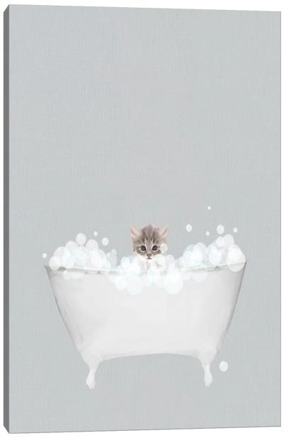 Kitten Blue Bath Canvas Art Print