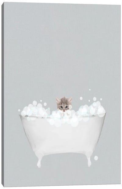 Kitten Blue Bath Canvas Art Print