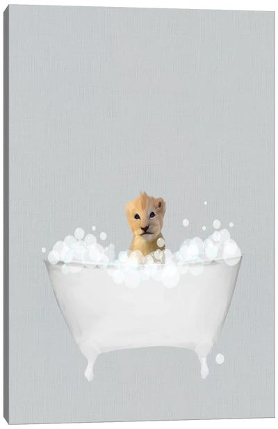 Lion Blue Bath Canvas Art Print
