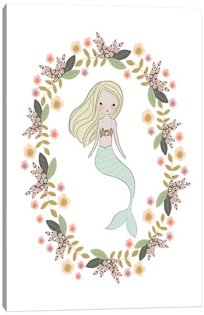 Mermaid And Florals Canvas Art Print