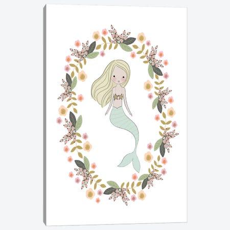 Mermaid And Florals Canvas Print #LEH110} by Leah Straatsma Canvas Print
