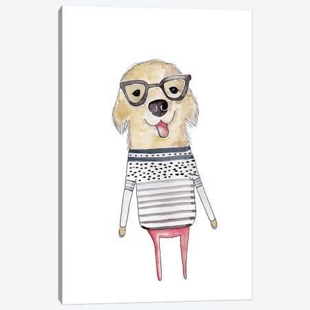 Puppy Glasses Canvas Print #LEH131} by Leah Straatsma Canvas Art Print