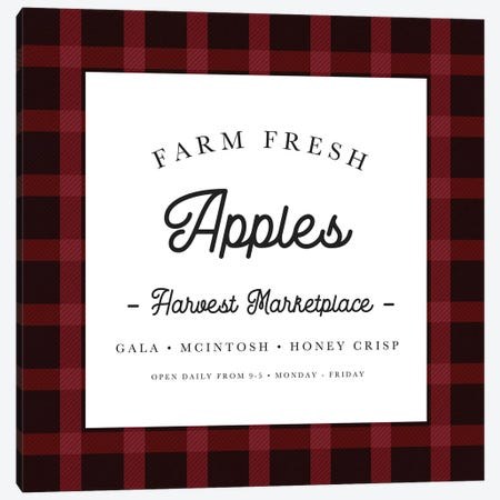 Red Farm Fresh Apples Canvas Print #LEH134} by Leah Straatsma Canvas Artwork