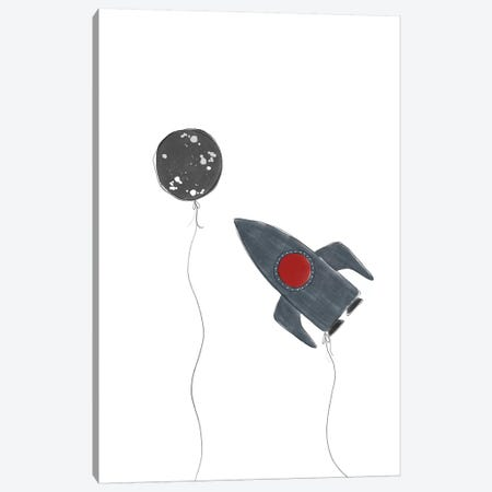 Spaceship Balloons Canvas Print #LEH143} by Leah Straatsma Canvas Wall Art