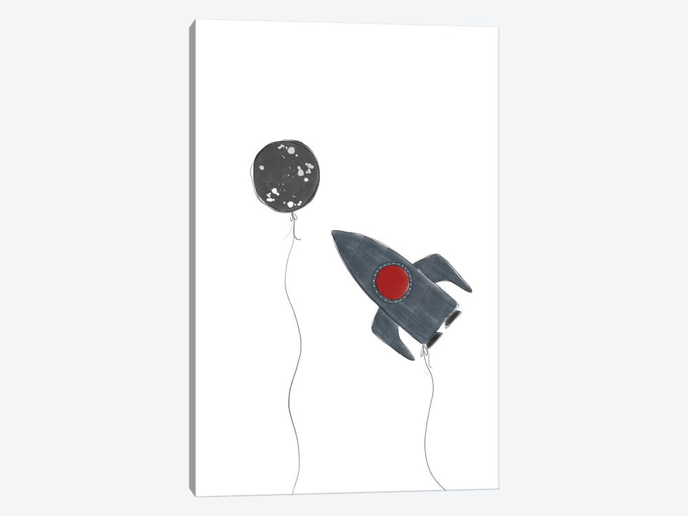 Spaceship Balloons by Leah Straatsma 1-piece Canvas Art Print