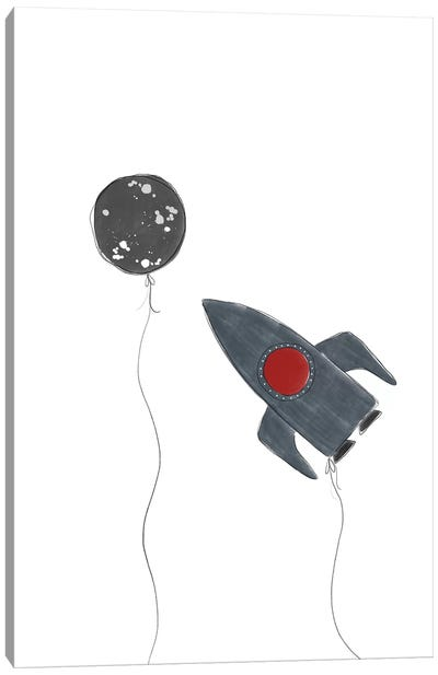 Spaceship Balloons Canvas Art Print