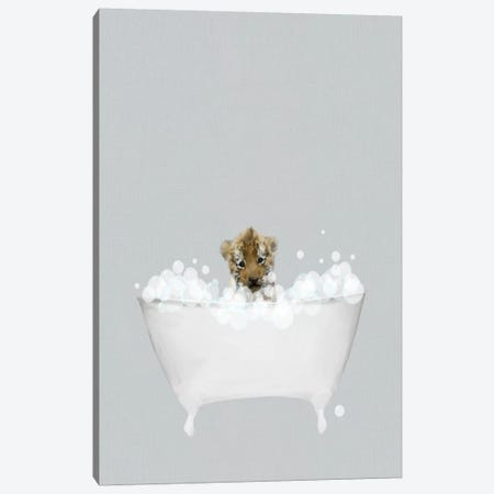 Tiger Blue Bath Canvas Print #LEH155} by Leah Straatsma Canvas Art