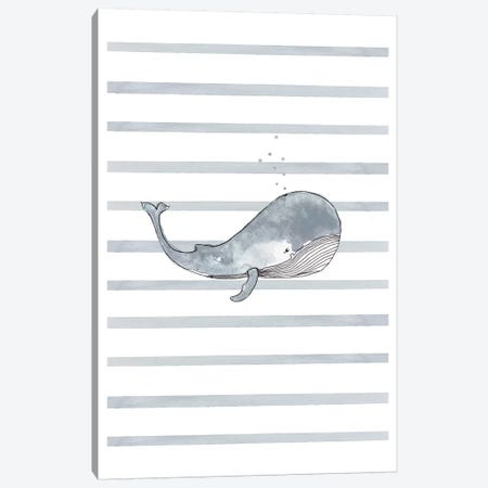 Whale Right Stripes I Canvas Print #LEH169} by Leah Straatsma Canvas Wall Art