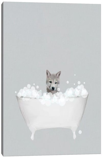 Wolf Blue Bath Canvas Art Print