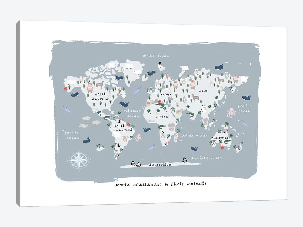 World Continents Map by Leah Straatsma 1-piece Canvas Print