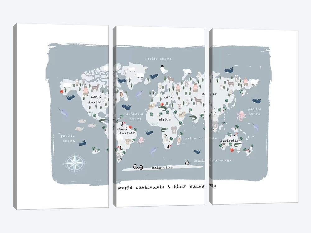 World Continents Map by Leah Straatsma 3-piece Canvas Print