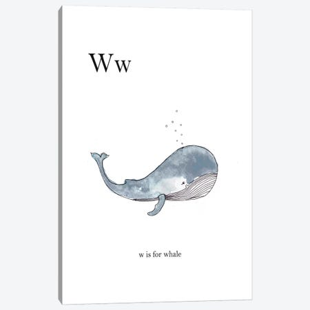 Ww Is For Whale Canvas Print #LEH182} by Leah Straatsma Canvas Artwork
