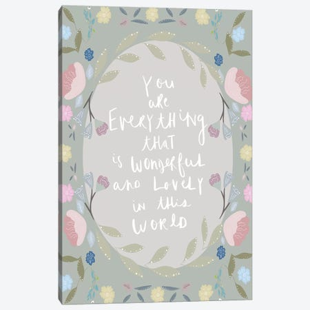 You Are Everything Moss Green Canvas Print #LEH184} by Leah Straatsma Canvas Print