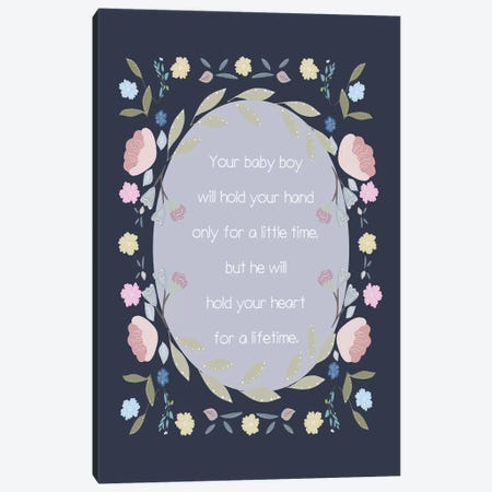Baby Boy Hand Quote Canvas Print #LEH18} by Leah Straatsma Canvas Print
