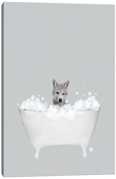 Wolf Blue Bath Canvas Art Print