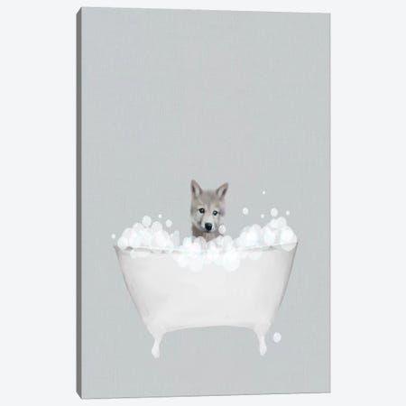 Wolf Blue Bath Canvas Print #LEH203} by Leah Straatsma Art Print