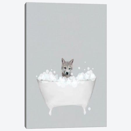 Wolf Blue Bath Canvas Print #LEH203} by Leah Straatsma Art Print