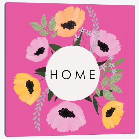 HOME Florals Hot Pink Canvas Print #LEH224} by Leah Straatsma Canvas Artwork