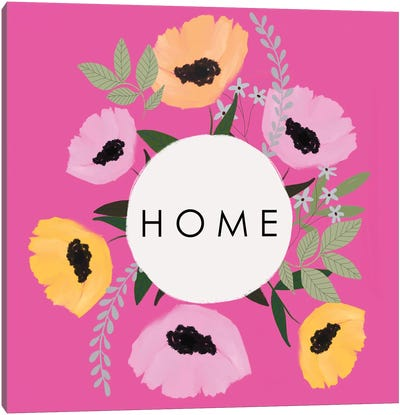 HOME Florals Hot Pink Canvas Art Print