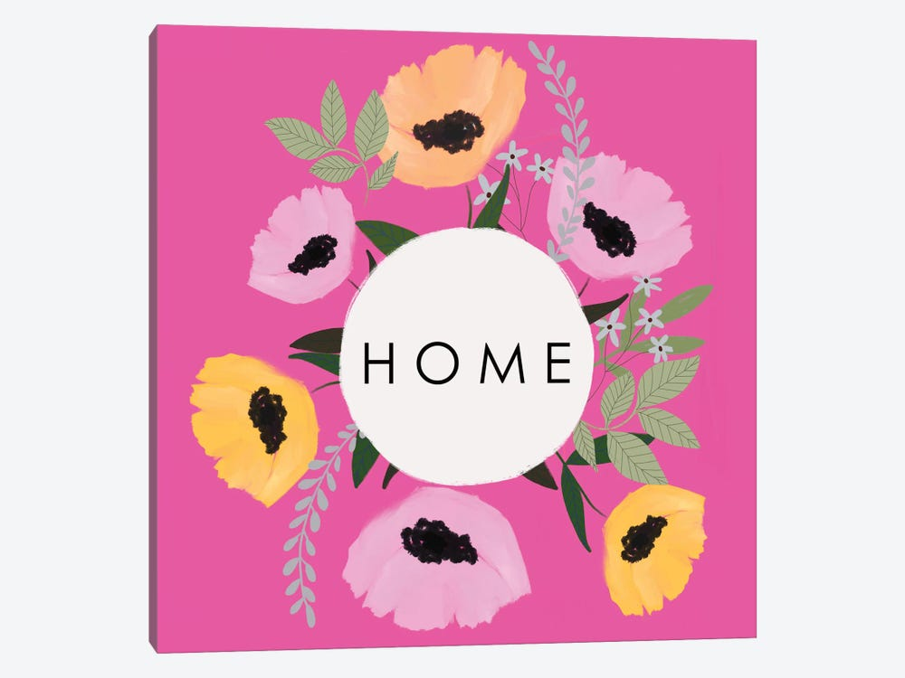 HOME Florals Hot Pink by Leah Straatsma 1-piece Canvas Wall Art