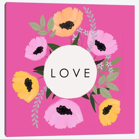 LOVE Florals Hot Pink Canvas Print #LEH225} by Leah Straatsma Canvas Artwork