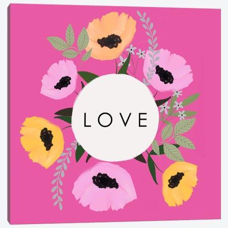 LOVE Florals Hot Pink Canvas Print #LEH225} by Leah Straatsma Canvas Artwork