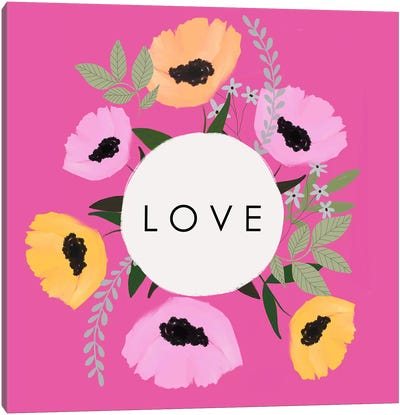 LOVE Florals Hot Pink Canvas Art Print