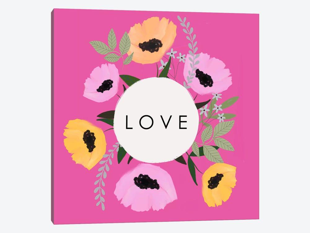LOVE Florals Hot Pink by Leah Straatsma 1-piece Art Print