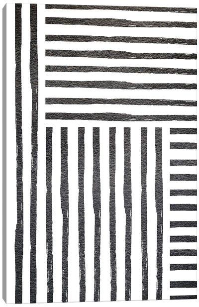 Black White Stipes Canvas Art Print