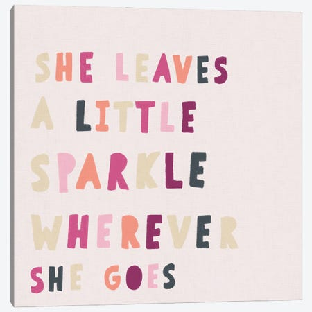 Square Pink She Leaves Sparkle Canvas Print #LEH253} by Leah Straatsma Canvas Artwork
