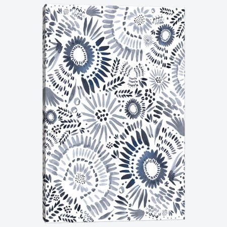 Blue Floral Fun Canvas Print #LEH29} by Leah Straatsma Canvas Art