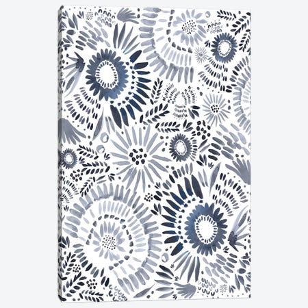 Blue Floral Fun Canvas Print #LEH29} by Leah Straatsma Canvas Art
