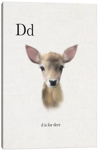D is for Deer Canvas Art Print