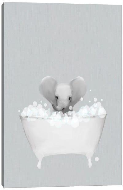 Elephant Blue Bath Canvas Art Print