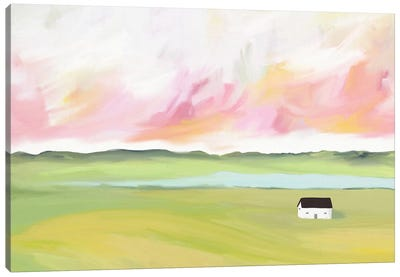 Farm House by The Lake Canvas Art Print