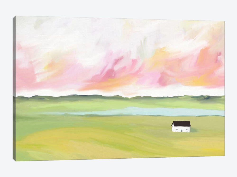 Farm House by The Lake by Leah Straatsma 1-piece Canvas Art
