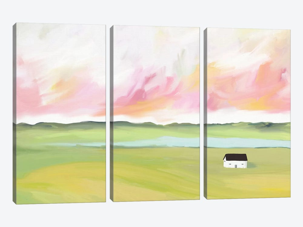 Farm House by The Lake by Leah Straatsma 3-piece Canvas Wall Art