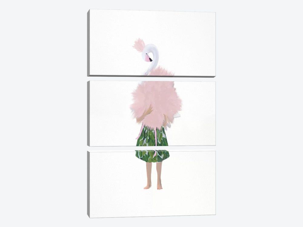 Flamingo Girl by Leah Straatsma 3-piece Canvas Print