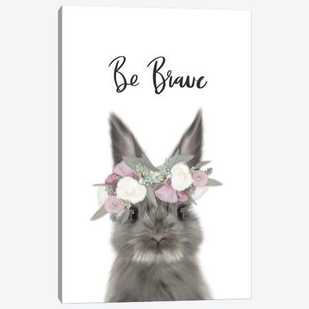 Floral Bunny Be Brave Canvas Print #LEH76} by Leah Straatsma Canvas Artwork