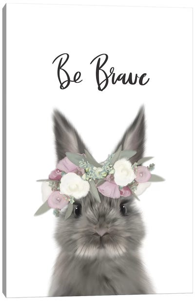 Floral Bunny Be Brave Canvas Art Print