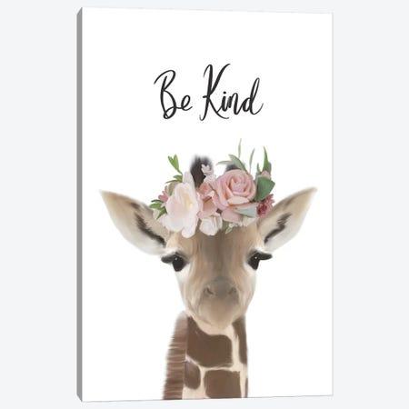 Floral Giraffe Be Kind Canvas Print #LEH77} by Leah Straatsma Canvas Wall Art