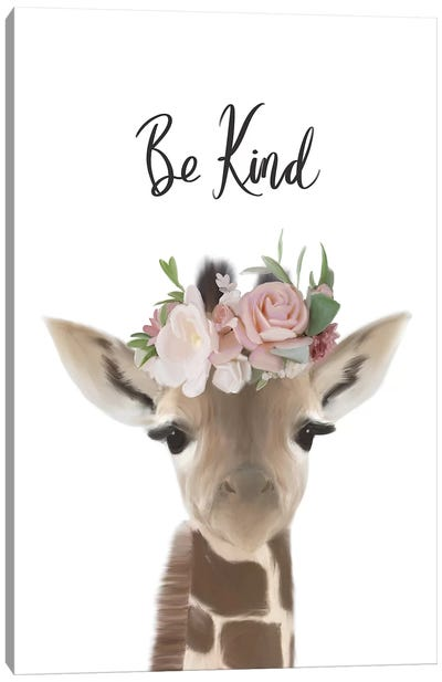 Floral Giraffe Be Kind Canvas Art Print