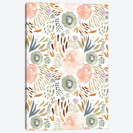 Floral Peach Orange Canvas Print #LEH79} by Leah Straatsma Art Print
