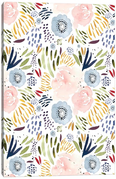 Floral Pink Blue Canvas Art Print