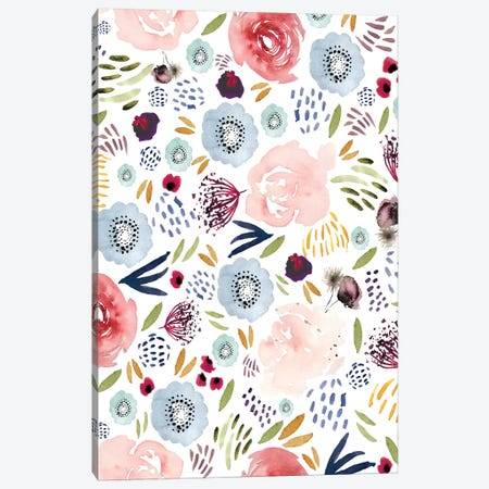 Floral Pink Red Blue Canvas Print #LEH81} by Leah Straatsma Canvas Artwork